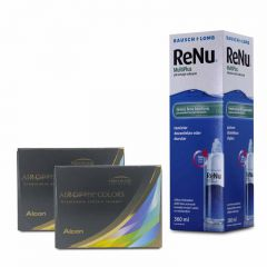2 KUTU AIR OPTIX COLORS NUMARALI + RENU 360 ML