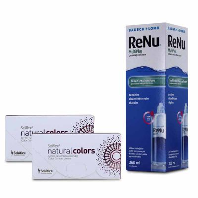 2 KUTU SOLFLEX NATURAL COLORS NUMARALI + 360 ML RENU / FIRSAT PAKETLERİ