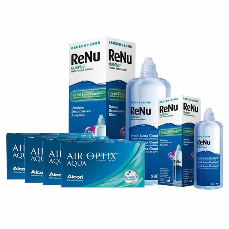 4 KUTU AIR OPTIX AQUA +RENU 360 + 120 ML SOLUSYON / FIRSAT PAKETLERİ