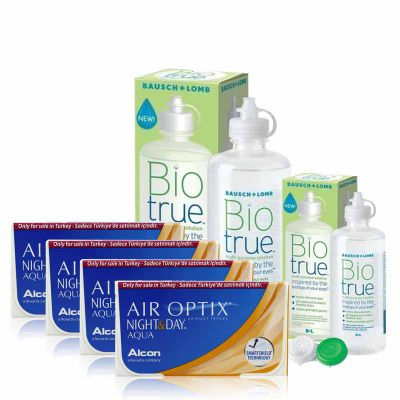 4 KUTU AIR OPTIX NIGHT & DAY AQUA + BIO TRUE 300 + 120 ML / FIRSAT PAKETLERİ
