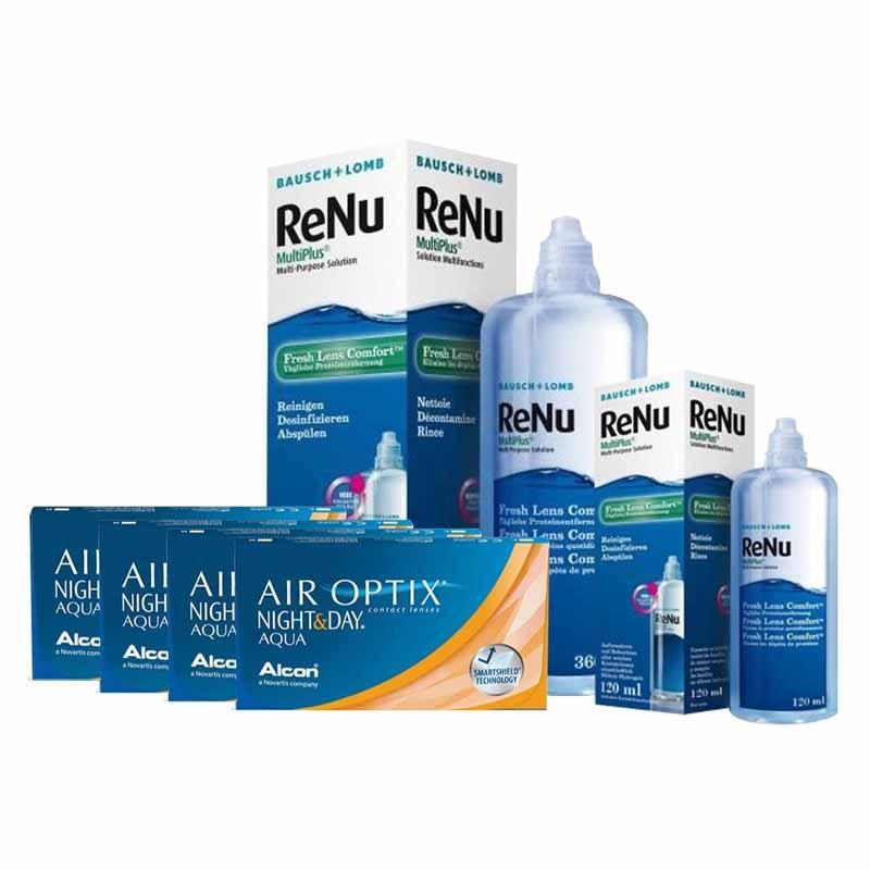 4 KUTU AIR OPTIX NIGHT & DAY AQUA + RENU 360+120 ML SOLUSYON / FIRSAT PAKETLERİ