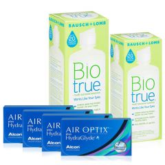 4 KUTU AIR OPTIX HYDRAGLYDE + BIOTREU300 ML + 120 ML