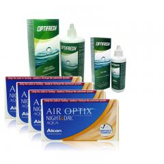 4 KUTU AIR OPTIX NIGHT & DAY AQUA + OPTIFRESH 360 + 120 ML