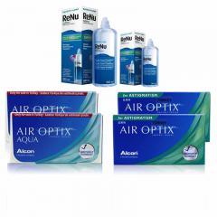 2 KUTU AIR OPTIX AQUA + 2 KUTU AIR OPTIX TORIC + RENU 360 ML + 120 ML
