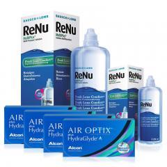 4 KUTU AIR OPTIX HYDRAGLYDE + RENU 360 ML + 120 ML